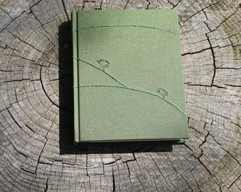 Embroidered Diary, Tree Journal, Tree Nature Journal, Green Diary, Green Blank Book, Tree Blank Book, Green Travel Journal, Embroidered Book