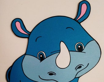 Baby Blue Rhino Wood Wall Art Jungle Zoo Nursery Toddler Child's Boy's Girl's Bedroom Decoration Birthday Party Baby Shower Prop Decor