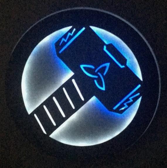 Thor's Hammer Mjolnir Marvel Comics Avengers Superhero Illuminated Lighted Logo Sign Nightlight Bedroom Kitchen Decoration FREE US SHIPPING