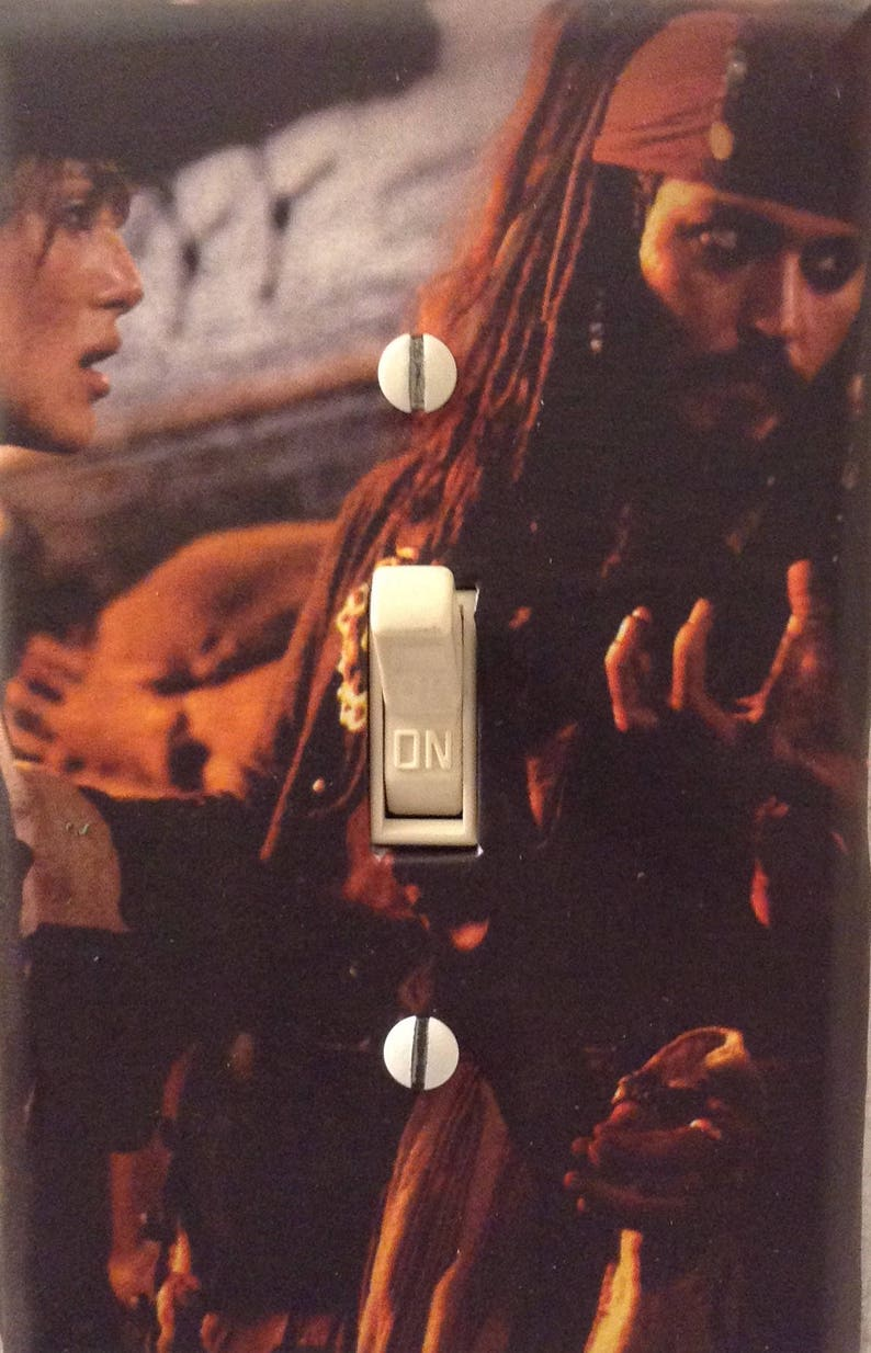 Pirates of the Caribbean Jack Sparrow Johnny Depp Pirate Adventure Movie  Light Switch Cover Mancave Home Theater Den Dorm FREE US SHIPPING