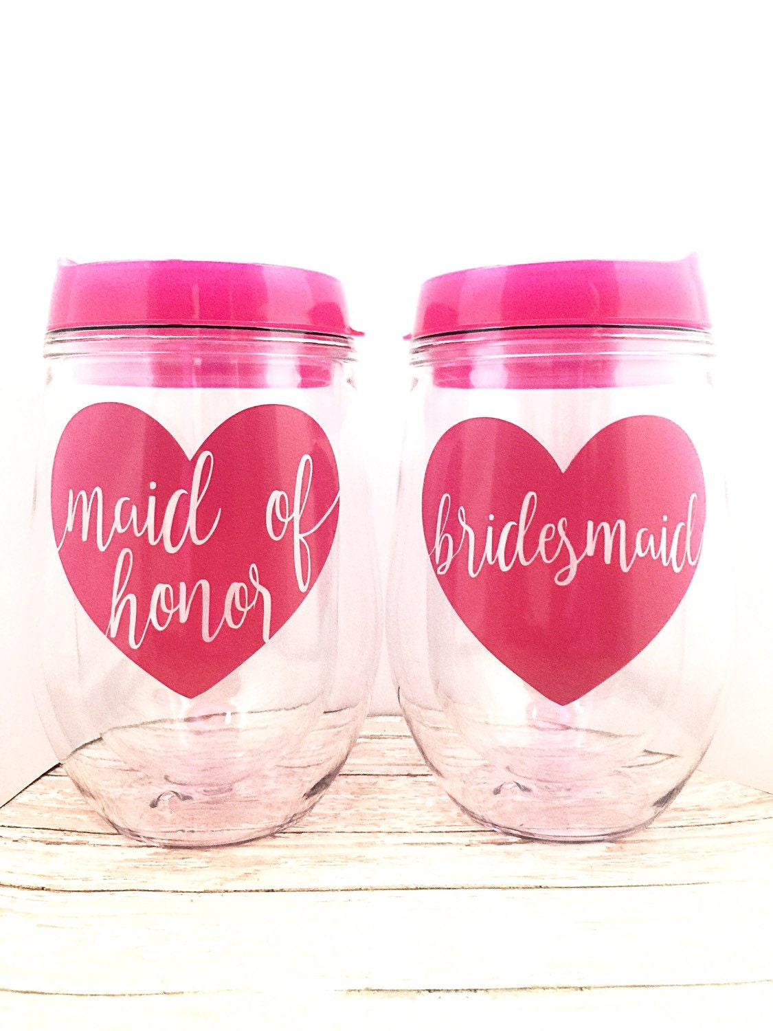 Bridal Party Wine Glass Decal ONLY - Vinyl Decals - Bridal Shower ...
