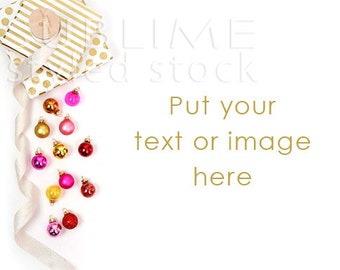 Download Free Styled Stock Photography / Christmas Background / Christmas / Mockup / Desktop / Ornaments / Pink Gold / Digital Background / StockStyle-785 PSD Template
