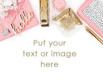 Download Free Styled Stock Photography Desktop / Background / Styled Stock Photography Desk / Pink and Gold / Social Media / Mock-up / StockStyle-798 PSD Template