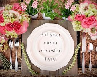 Download Free Styled Stock Photography / Plates / Mockup / Menu / Wedding Menu / Place Setting / Table Stetting / JPEG Digital Image / StockStyle-465 PSD Template