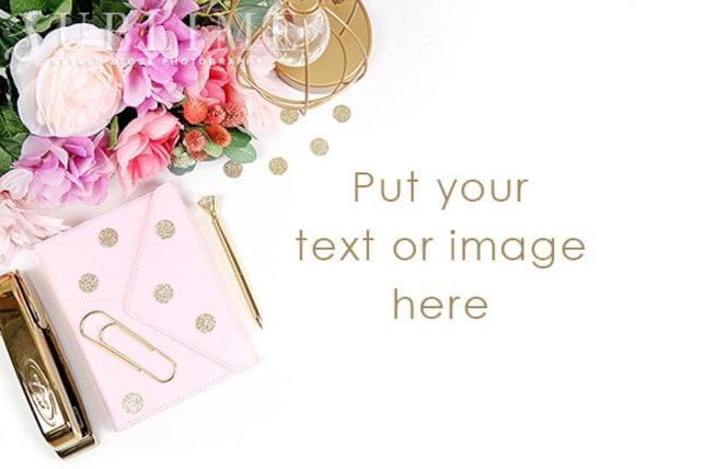 Styled Desk / Photo Background / Styled Stock Photography / Desktop Styled /  Digital Background / Flowers / Notebook / StockStyle-920