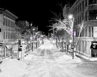 State Street Madison, Wisconsin Selective Color Black and White Photograph