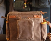Waxed Canvas and Leather Fly Fishing Bag - Standard Strap