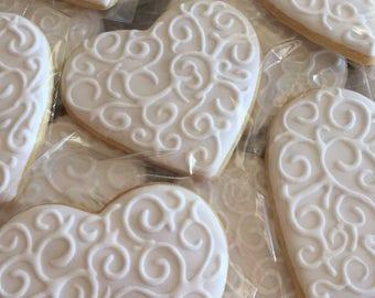 Wedding Heart Sugar Cookies (one dozen)