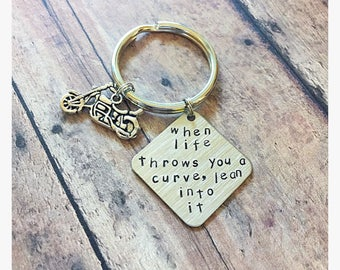 Motorcycle gifts bike keychain lean into it Harley keychain gifts for him gifts for her gifts for bike riders motorcycle keychain motorbike