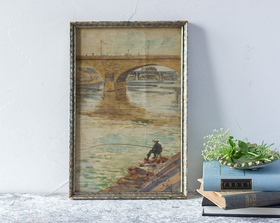 Vintage French River Marne Watercolor Painting