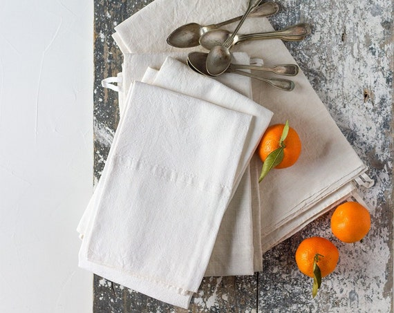 Vintage French Simple Linen Kitchen Towels - set of 2