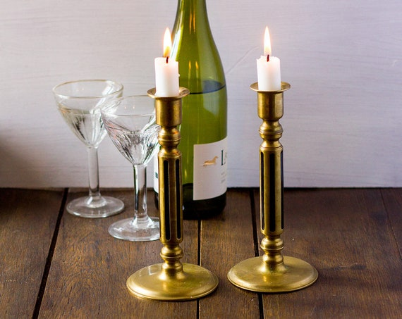 Vintage French Brass and Black Inlay Candleholders