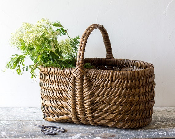 Vintage French Dark Woven Basket