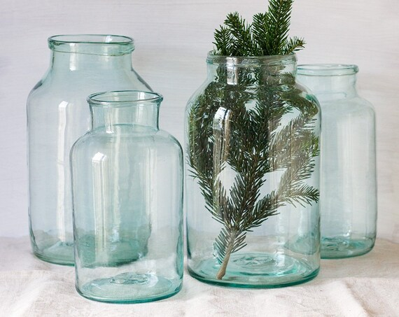 Vintage French Blue Glass Pickling Jars