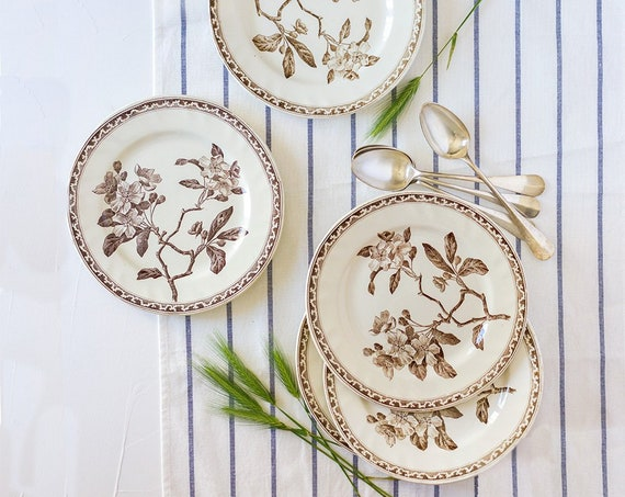 Antique French Apple Blossom Ironstone Transferware Plates - set of 6