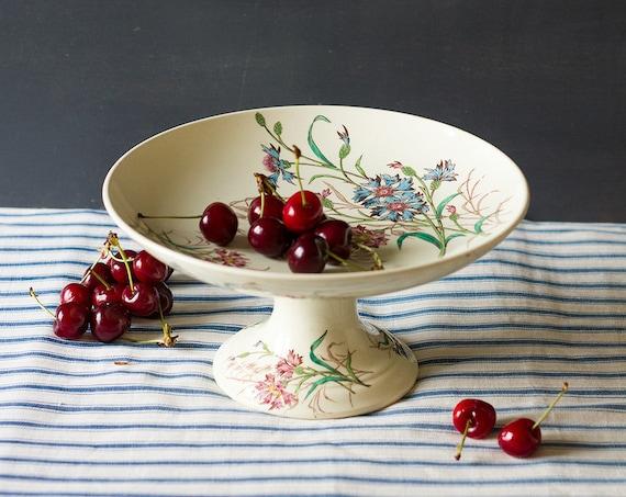 Ironstone Cornflower Pedestal Dish