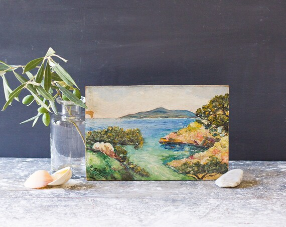 Vintage French Mediterranean Bay Painting