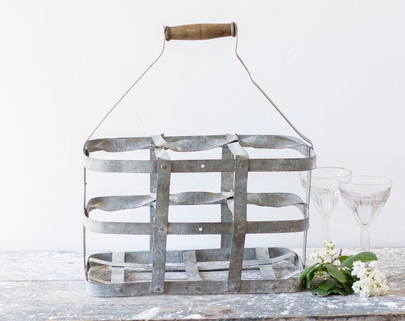 Vintage French Zinc Bottle Carrier