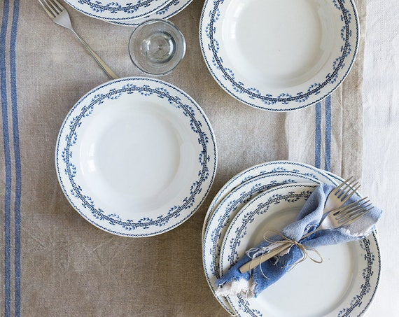 Greek Key Ironstone soup & dinner plates - set of 8