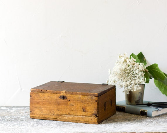 Vintage French Petit Wooden Box with Leather Hinges