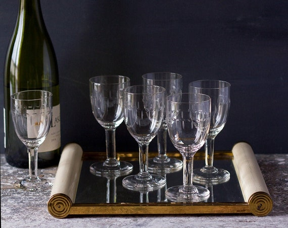 Vintage French Etched Wine Glasses - Set of 6