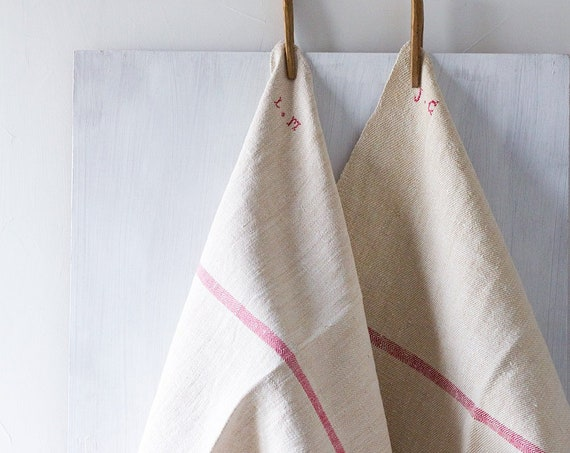 Vintage French Rustic Woven Linen Cloths