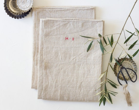 Vintage French Large Linen Towels