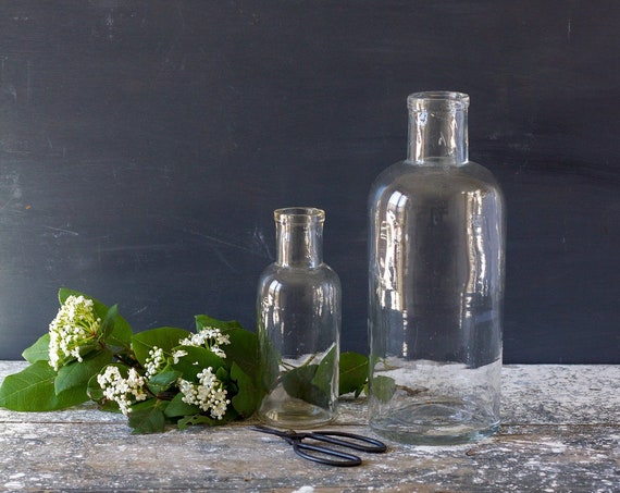 Antique French Glass Bottles - set of 2