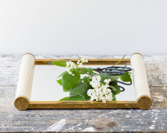 Vintage French Mirrored Scroll Tray