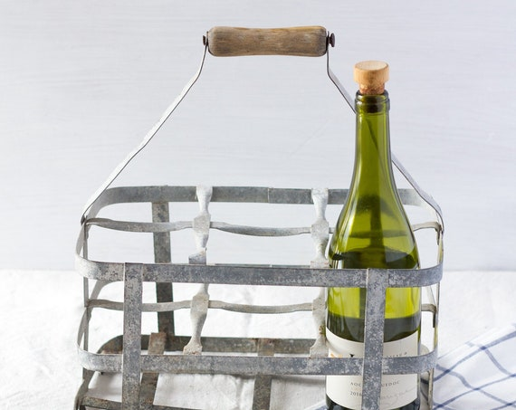 Vintage French Zinc Wine Carrier