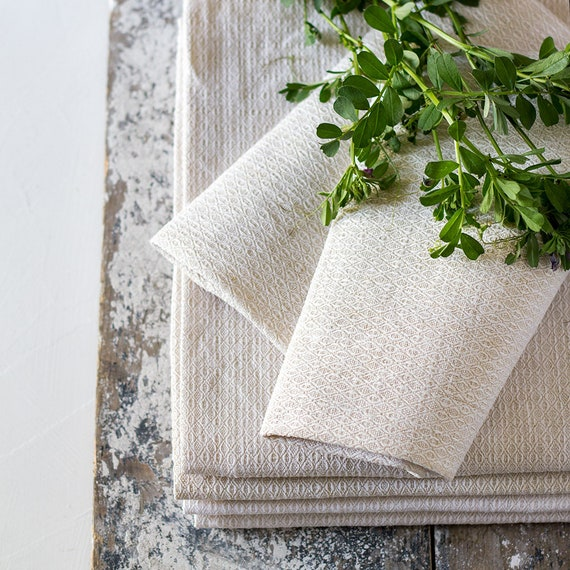 Vintage French Unbleached Diamond Towels