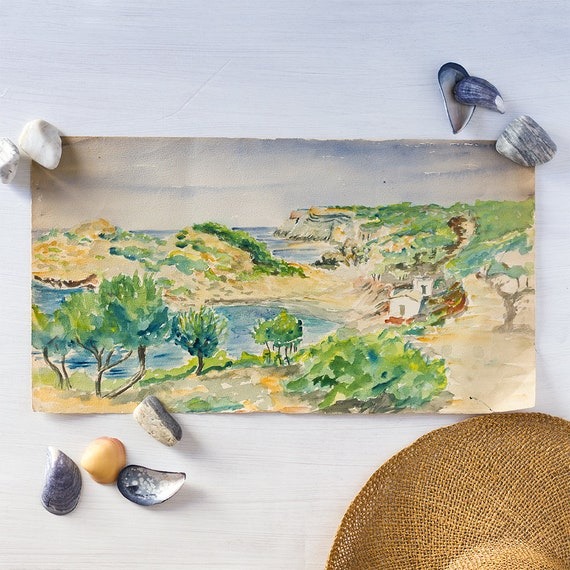 Vintage French Plein Art Watercolor - Ibiza Coast