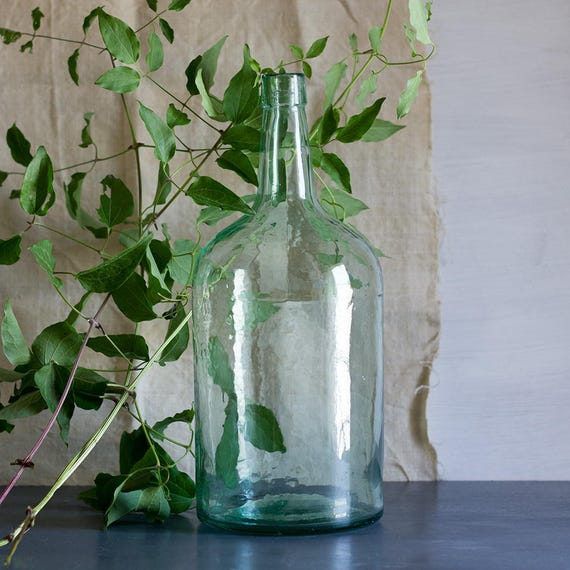 French Blue Large Glass Wine Bottle