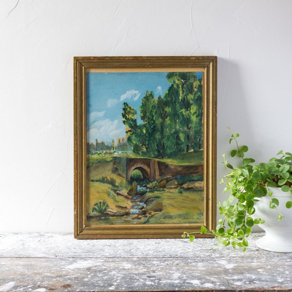 Vintage French Brook & Bridge Painting