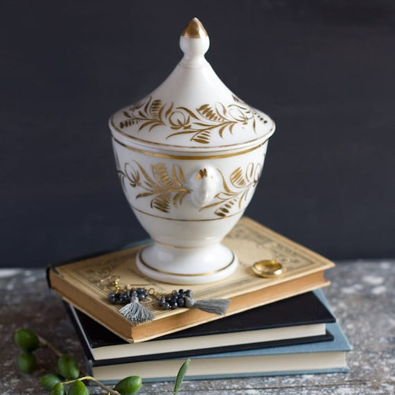 French Gold Vine Lidded Jar