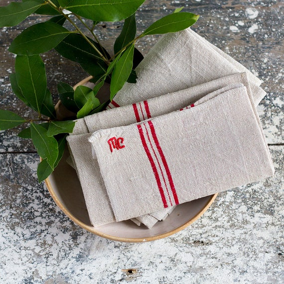 Classic French Linen Red Stripe & Deco Monogram Kitchen Towel - set of 2