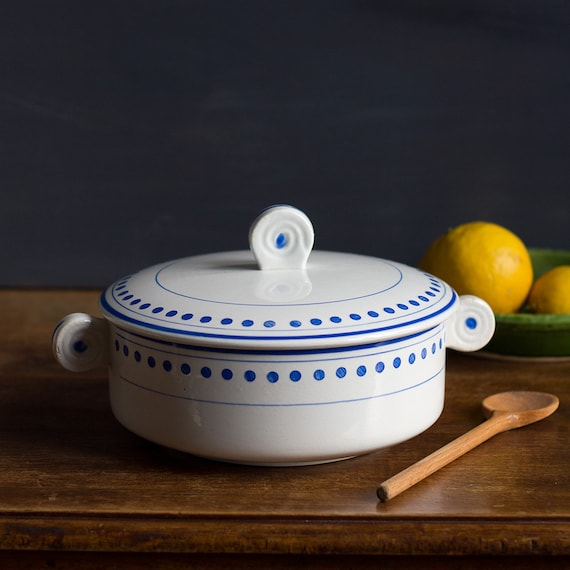 Blue Dot Covered Serving Dish