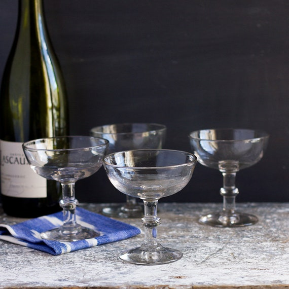 Vintage French Champagne Coupes - set of 4