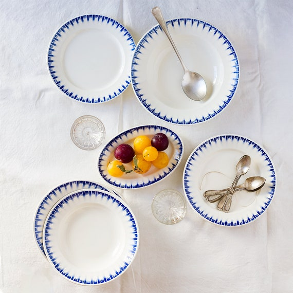 Vintage French Blue Fringe Plate Set