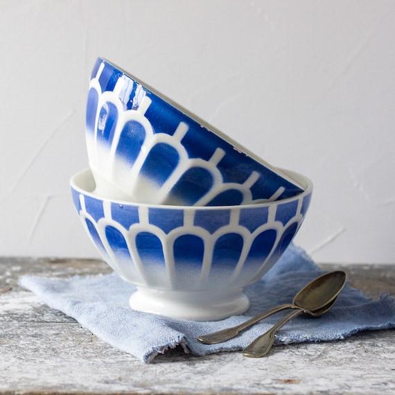 Large Vintage French Blue Scallop Café au Lait Bowls - set of 2