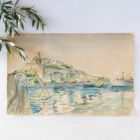 Vintage French Plein Art Watercolor - Ibiza Harbor