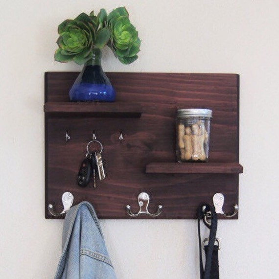 Floating Shelves With Coat And Key Hooks Hallway Wall