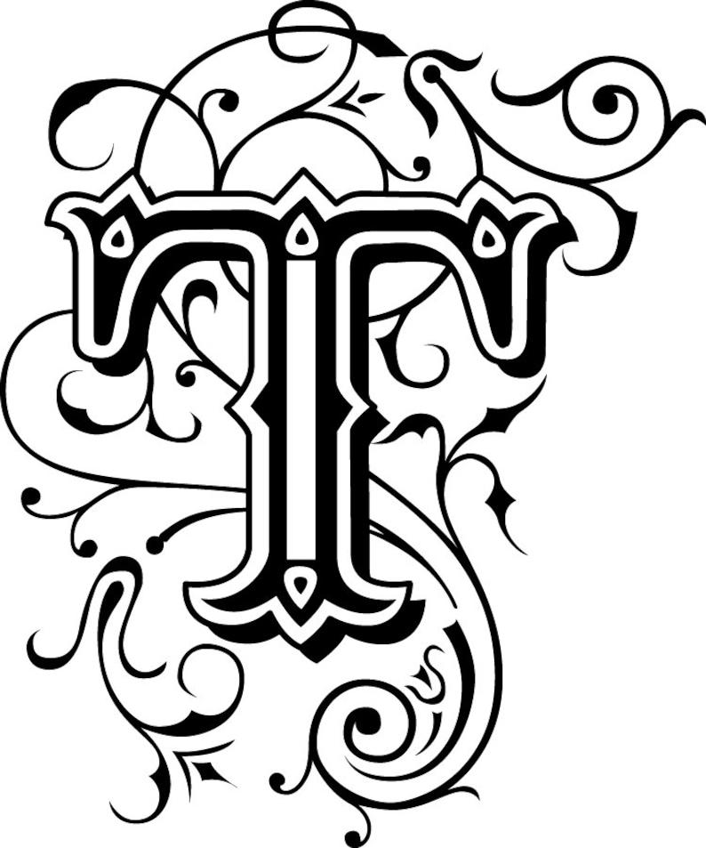 Fancy Monogram Decal multiple colors full alphabet