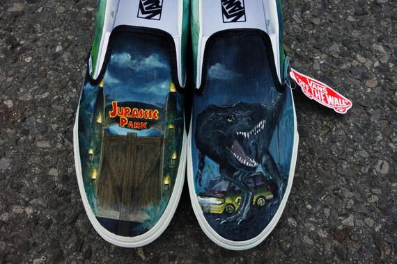 Jurassic Tyrannosaurus Park Tyrannosaurus Jurassic Rex personnalisée peinte à la main VANS pour vchaidez a67083