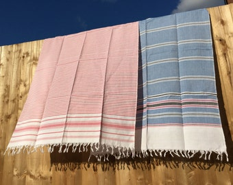 NEW - Pink and White striped towel