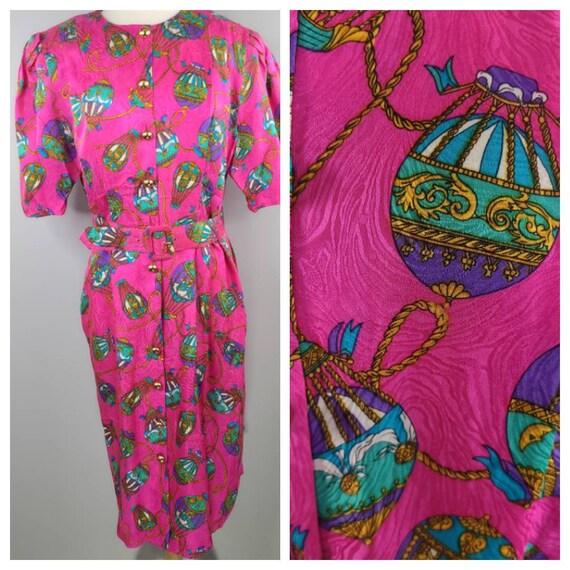 Vintage Silk Adrianna Papell Hot Air Balloon Dress