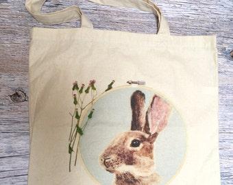 Rabbit Tote Bag, Pretty Tote Bags, Rabbit Gift, Cotton Tote, Rabbit Bag, Cute Tote Bag, Tote Bag Canvas, Bunny Bag, Unique Gift