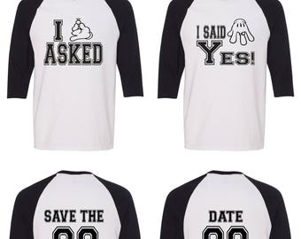 8232d83c79 Save the Date Matching Couple Straight Fit Unisex Raglan Tee l His and Hers