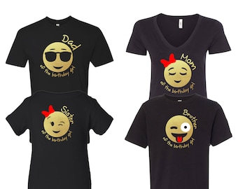 Emoji Birthday Girl Inspired Shirt For The Family DadMomSisterBrother Gold Chrome Customize Your Own