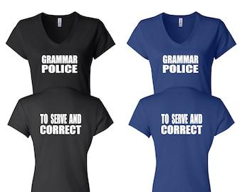 4d05d7e0b1 WOMEN V NECK Grammar Police Shirt Academy Shirt Funny Shirt Unique Teacher  Gifts for Teachers Cool Funny T Shirt Man Typography T-shirt